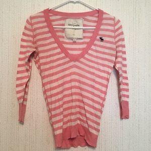 Pink Striped 3/4 Sleeve V Neck Top